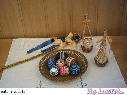 Kraslice zdobené bavlnkou