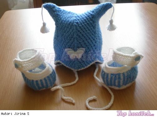 Pletená čepička a bačkůrky pro kojence