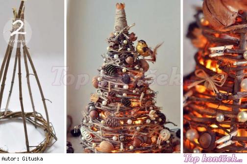 ... Domácí výroba vánočního stromku na stůl s osvětlením